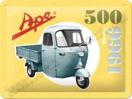 metalen reclamebord Vespa Ape 500 15-20 cm