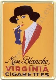 metalen ansichtkaart miss blanche 10-14 cm