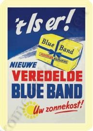 metalen ansichtkaart Blue band 10-14 cm.