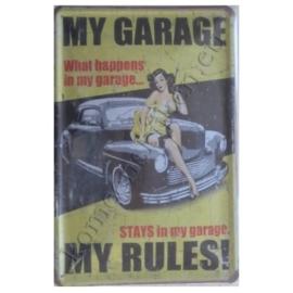 wandplaat my garage, my rules! 20-30 cm