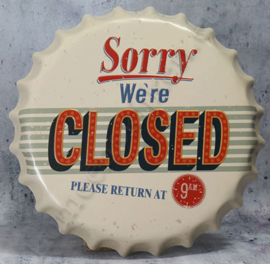 blikken kroonkurk sorry we're closed 40 cm
