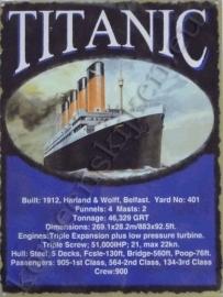 blikken reclame plaat titanic / data 30-40 cm