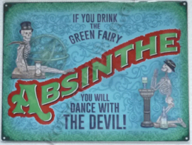 metalen wandplaat absinthe the green fairy 30-40 cm