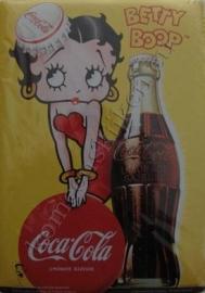 blikken ansichtkaart Betty boop geel, glas coca cola 15-21 cm