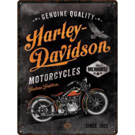 metalen reclamebord Harley-Davidson genuine quality 30x40 cm