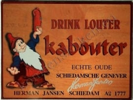 metalen affiche drink louter kabouter 30-40 cm