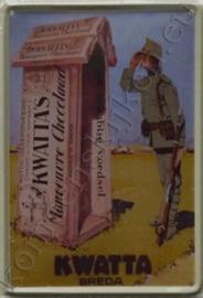 metalen ansichtkaart kwatta chocolade soldaat 10-14 cm