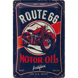 metalen wandplaat Route 66 motor oil 20x30 cm