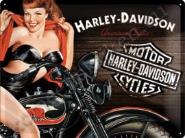 wandplaat harley davidson biker babe red 30-40 cm
