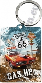 metalen sleutelhanger route 66 gas up