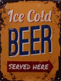 metalen wandplaat ice cold beer 25-33 cm