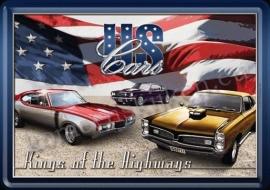 metalen ansichtkaart US cars 10-14 cm