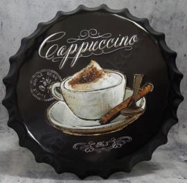 metalen kroonkurk cappuccino zwart 40 cm