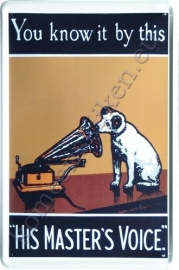 metalen reclamebord His master`s voice 20-30 cm