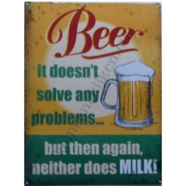 metalen wandplaat beer, it doens't solve any problems 30-40 cm