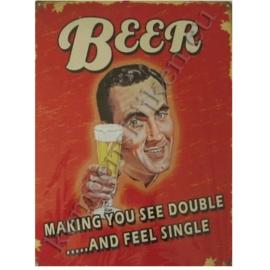 metalen reclameplaat beer, making you see double 30-40 cm