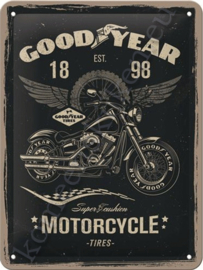 Metalen muurbord good year motorcycle 15-20 cm