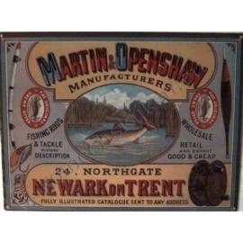 nostalgische wandplaat vissen / hengels 30-40 cm
