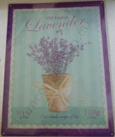 metalen wandbord old english lavender (lavendel) 30-40 cm