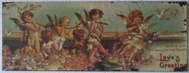 wandplaat hartjes dragende engelen 39,5 - 15 cm