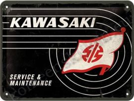 blikken wandbord Kawasaki logo 15-20 cm