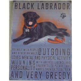 Metalen wandplaat black labrador 30-40 cm
