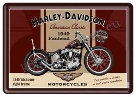 metalen ansichtkaart harley davidson panhead 10-14 cm