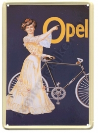 metalen ansichtkaart opel fietsen 10-14 cm