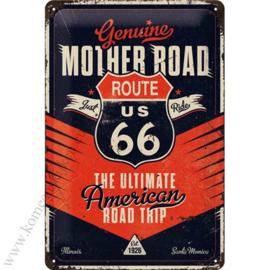 metalen wandbord Route 66 road trip 20x30 cm