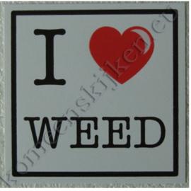 sticker I love weed 10,5 cm.