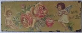 wandplaat engelen / rozen 39,5 - 15 cm