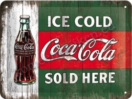 metalen wandbord coca ice cold 15-20 cm