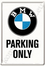 metalen ansichtkaart BMW parking only 10-14 cm
