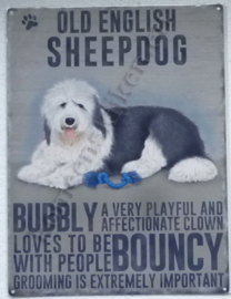blikken wandplaat old english sheepdog 30-40 cm