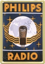 metalen ansichtkaart philips radio lamp 10-14 cm