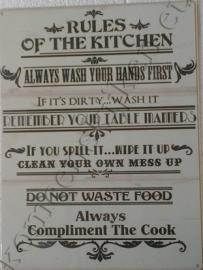 metalen wandbord rules kitchen 30-40 cm