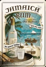 metalen ansichtkaart jamaica rum 10-14 cm