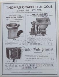 wandplaat thomas crapper / uitvinder toilet 30-40 cm