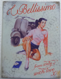 metal wall sign vespa bellissimo 30-40 cm