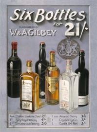 metalen wandplaat six bottles 30-40 cm