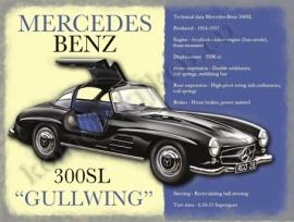 blikken wandplaat mercedes benz 300SL gullwing 30-40 cm