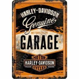 metalen ansichtkaart Harley Davidson garage 10-14 cm