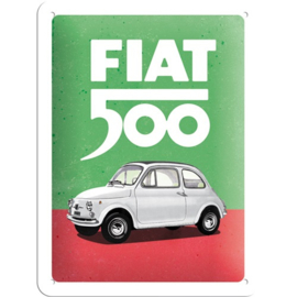 metalen wandbord Fiat 500 15 x 20 cm
