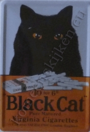 metalen ansichtkaart black cat 10-14 cm