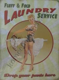 metalen wandplaat fluff & fold laundry service / pin up 30-40 cm