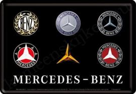 Metalen ansichtkaart Mercedes Benz alle logo's 10-14 cm