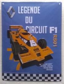metalen wandplaat Renault formule 1 30x40 cm