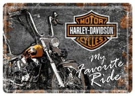 metalen ansichtkaart harley my favorite ride 10-14 cm