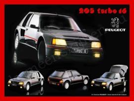 blikken reclamebord peugeot 205 turbo 16  30-40 cm