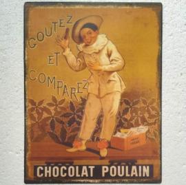 Metalen wandbord Chocolat Poulain 25x33 cm